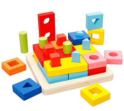 Lewo Wooden Geometric Stacking Sort Toys Early Educational Shape Chunky Puzzle Games for Kids