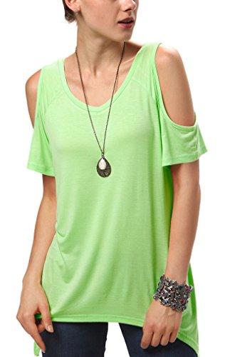 Urban CoCo Women's Vogue Shoulder Off Wide Hem Design Top Shirt - Large - Candy Green