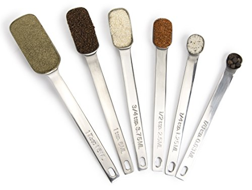 Simply Gourmet Measuring Spoons 6 Piece Set Premium Stainless Steel Measuring Spoon Set Designed to Last a Lifetime. Narrow Design Fits in All Spice Jars. Goes Great with Our Measuring Cups Set