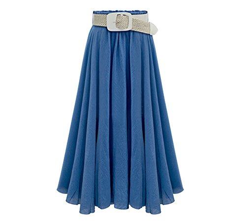 DaBag Femmes Mode Ample Taille Haute Taille Elastique Tencel Pliss jupe Mi Longue Jupe Plage A-Word(envoyer la ceinture) Bleu