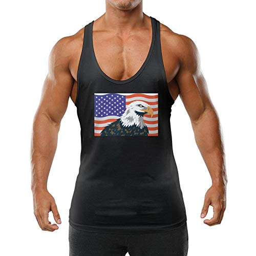 Personalized Mens Vest Round Neck American-Flag-Bald-Eagle-Black Breathable T-Shirts