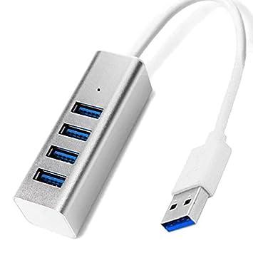 SODIAL 3.0 Concentrador 4 Puertos aleacion de Aluminio Divisor Universal dedicado de Ordenador portatil Concentrador USB (Plata): Amazon.es: Electrónica