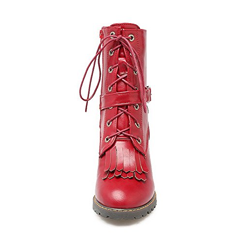 Red BeanFashion Adornment Materials tassels Boots Women's Solid with Toe Blend Closed rIz8qrZ