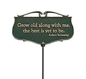 """Whitehall Products """"Grow Old along with Me..."""" Garden Poem Sign, Green/Gold"""