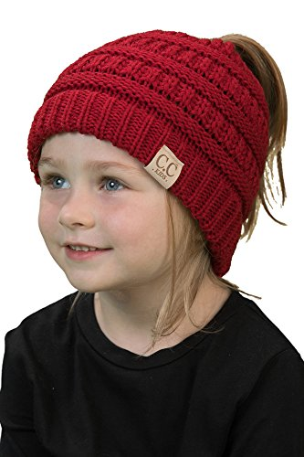 Kids Beanie Red (BT2-3847-42 Kids Messy Bun Ponytail Winter Knit Hat Girls Beanie Tail - Red)