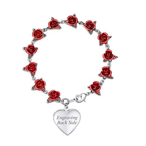 U7 Women Girls Heart Locket Charm Bracelet Platinum Plated Link Red Rose Flower Chain Bracelets, Wedding/Memorial Gift for Her, Free Message Engrave Back Side
