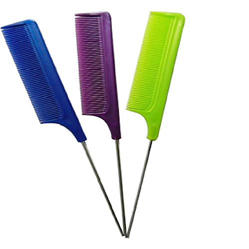 """UrbHome 8.8Inch Rat Tail Comb Styling Set Great for All Hair Types Hair Stylists""""Assorted Colors"""" (3 Pack)"""