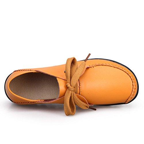 Yiiquan Jaune PU Lacets Loisirs Confort Mocassins Femmes Cuir Loafers Flâneurs Chaussures gwfgrq
