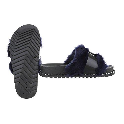 Women's Sandals Flat Mules at Ital-Design Black Blue 838 Qm8uB
