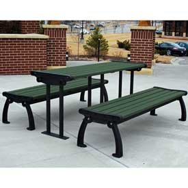 (Heritage Picnic Table, Recycled Plastic, 6 ft, Black & Green)