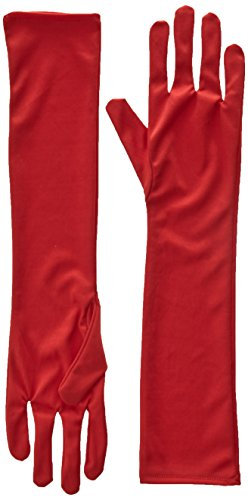 Long Red Nylon Gloves (Jacobson Hat Company Women's Adult 18 Inch Long Nylon Glove, Red, One Size)