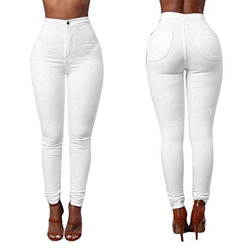 Women Denim Jeans, Luca New Fashion Multi Colors Girl Casual Jeans Pants (M, White)