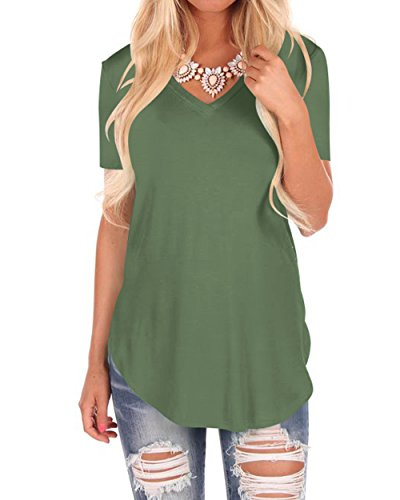 (WFTBDREAM Womens Casual V Neck Shirts Irregular Hem Tee Sleeves Solid Army Green M)