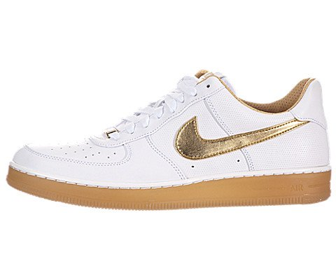 White Af1 Shoes - Nike Men's AF1 Downtown PRM White/Metallic Gold Basketball Shoe 9.5 Men US