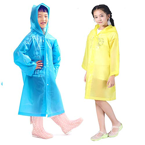 Kids Rain Ponchos, 2 Packs Portable Reusable Emergency Raincoats for 6-12 Years Old for Camping Hiking Traveling Backpacking