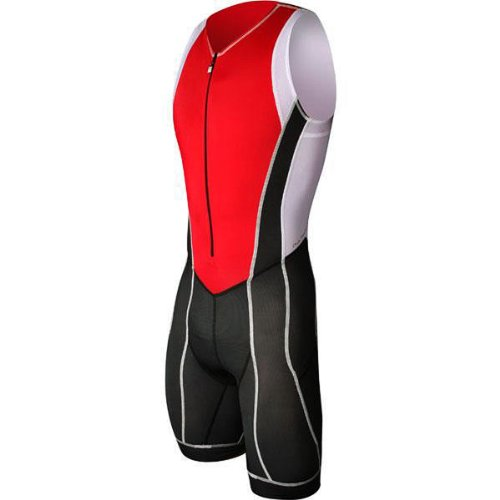 Astek Mens White Black Red Premium Triathlon Singlet Skin Tri Cycling Suit Clothing - Men Triathlon Clothing