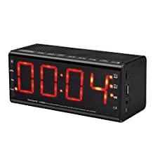 KINDEN Portable Wireless Bluetooth Speaker with Super Bass, LED Display, Dual Alarm Clock, FM Radio, Built-in Microphone for Apple iPhone Sony and More
