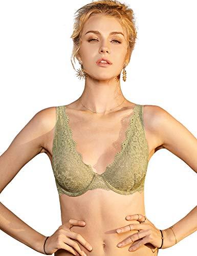 (DOBREVA Women's Underwire Unlined Plunge Lace Bralette Bra Green 34B)