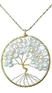 DEW Drops Cultured Freshwater White Pearl Tree of life Pendant Brass Long Necklace Gemstone Jewelry