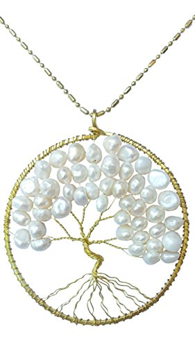 [DEW Drops Cultured Freshwater White Pearl Tree of life Pendant Brass Long Necklace Gemstone Jewelry] (Polynesian Girl Costume)