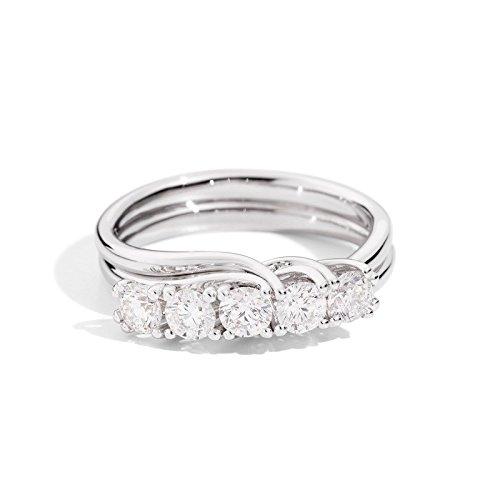 26c84e7fe7aa Anillo Alianza 5 diamantes doble hilo Isabella Oro Blanco r61mz001 B070 -  Recarlo  Amazon.es  Joyería