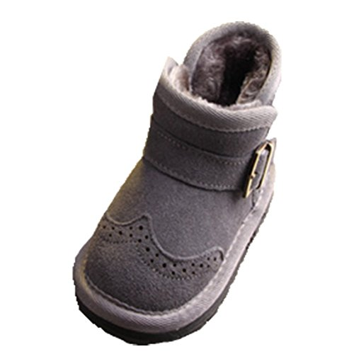 Ohmais Kinder Mädchen Junge Halbschuhe Stiefel und Stiefeletten klassische kleines Mädchen Schuh Grau