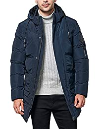 Mens Coat, Winter Hooded Zipper Pocket Cotton Padded Medium Length Thickened Overcoat Warm Outwear