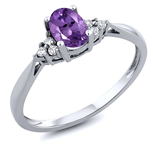 Gem Stone King 14K White Gold Purple Amethyst and Diamond Women's Ring 0.41 cttw (Size 7)