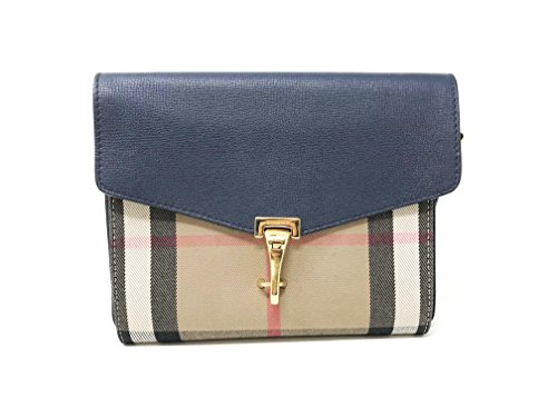 Burberry Small Leather House Check Crossbody Bag - Ink Blue