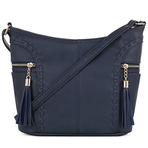 (DELUXITY | Crossbody Hobo Slouch Bucket Purse Bag | Side Pockets with Tassel | Adjustable Strap | Navy )