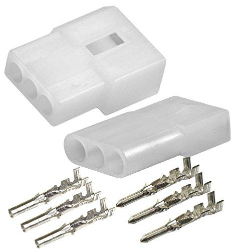 Molex (3-Circuits ) Male & Female Receptacle Plug, w/Terminal sockets w/18-24 AWG STANDARD .062