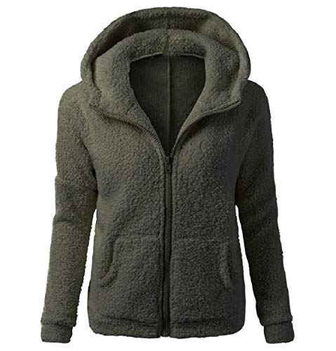 XINHEO Women's Solid Autumn Plush Zip Up Slim Fit Hood Outwear/Overcoat Green
