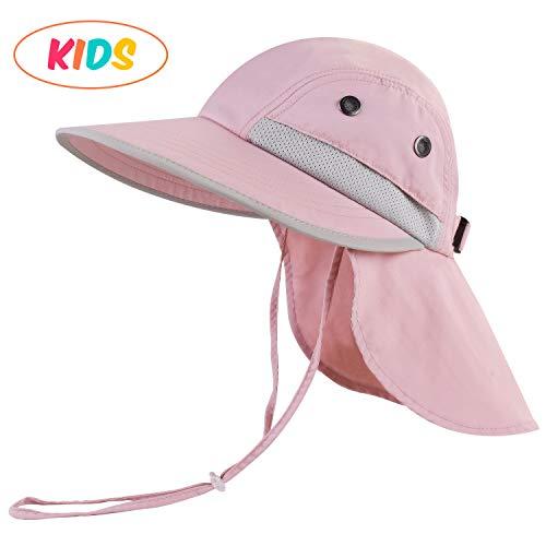 camptrace Safari Kids Sun Hat Wide Brim Bucket Cap Toddler Fishing Hats Boy Girl Pink]()