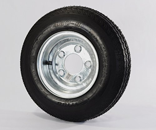 eCustomRim 2-Pack Trailer Tire On Rim 480-8 4.80-8 Load C 5 Lug Galvanized