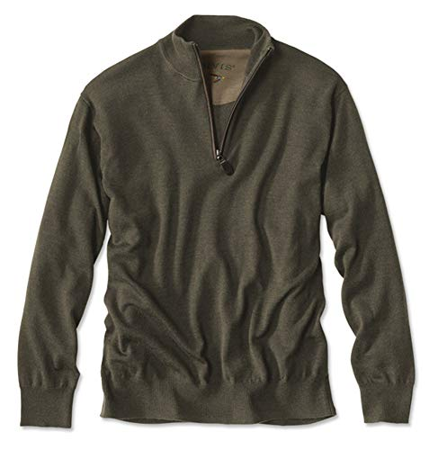 - Orvis Men's Merino Wool Zipneck Sweater, Military Olive, Medium