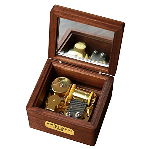 YouTang Music Box, Walnut Wood Mini Size 18-Note Clockwork Musical Box,Music Gifts,Play Jinsei no Merry Go Round(Gold Movement)
