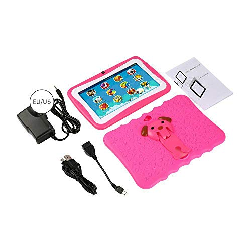 Godyluck- Q768 7 inch Kids Tablet Educational Learning Computer 1024600 Resolution WiFi Connection with Silicone Case Blue US Plug
