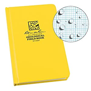 Rite in the Rain Weatherproof Hard Cover Notebook, 4.75″ x 7.5″, Yellow Cover, Geological Pattern (No. 540F)