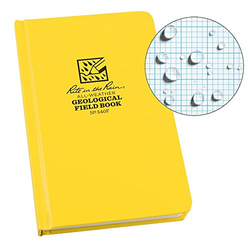 "Rite in the Rain Weatherproof Hard Cover Notebook, 4 3/4"" x 7 1/2"", Yellow Cover, Geological Pattern (No. 540F)"