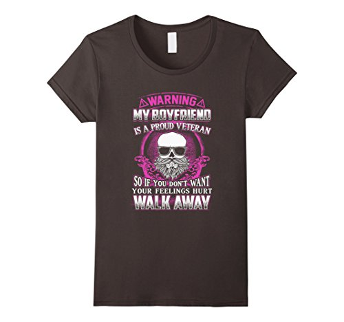 Women's Warning My Boyfriend Is A Veteran Funny T-Shirt Gift XL Asphalt