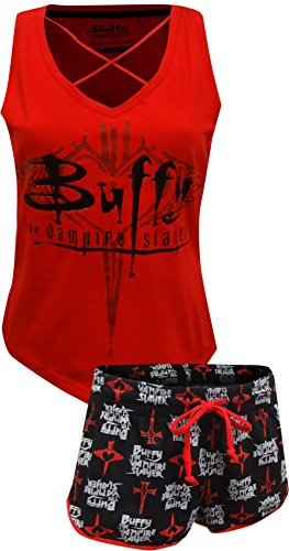 Briefly Stated Women's Buffy The Vampire Slayer 2-Piece Pajama Set, red, -