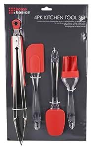 Home Basic KT41154 4 Piece Red Kitchen Tool Set