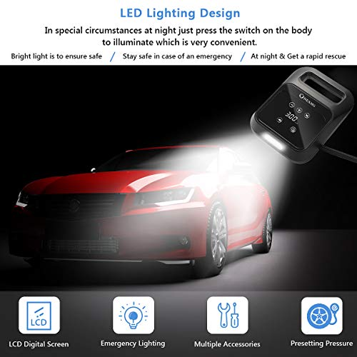 OneAmg Luftkompressor, Auto Kompressor 12V 150PSI Tragbare Auto Luftpumpe Reifen Inflator mit LED-Bildschirm, langem Kabel, LED-Licht, und Tragetasche für Auto, Motorrad, Fahrrad, Ball