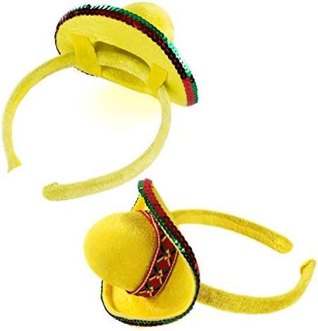 Tigerdoe Taco Costume Hat - Sombrero Headbands - Food Costumes - Costume Party Hat- Cinco De Mayo Hats - Fiesta Party (8Pack Sombrero Headbands) Black