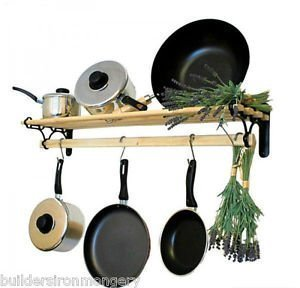 0.9M// 3 FOOT IRONMONGERY WORLD/® TRADITIONAL COUNTRY KITCHEN SHELF POT PAN RACK HOLDER HANGER WITH CAST IRON ENDS