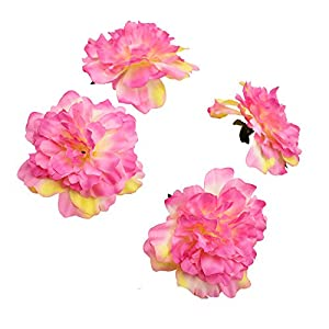 HZOnline Artificial Silk Peony Flower Heads, Fake Stemless Head Floral Bouquet for Crafts Wedding Wrist Flower Decoration DIY Making Beach Shoes Hair Clips Headbands Photography Props (10pcs Pink) 3
