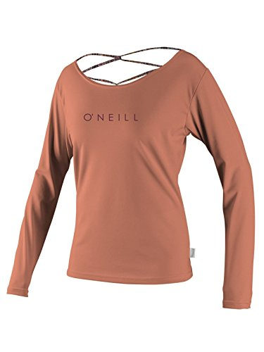 O'Neill Women's LS Strap Back Rashguard L Light Grapefruit/Bahia (4700S) - Oneill Womens Pool
