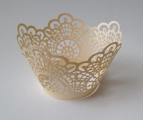 lace cupcake liners ivory - 8