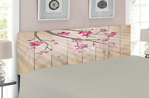 Lunarable Nature Headboard, Spring Cherry Twig Falling Petals Sun Rays on Wooden Wall Background Illustration, Upholstered Decorative Metal Headboard with Memory Foam, for King Size Bed, Pink Camel (Twig Style Headboard)