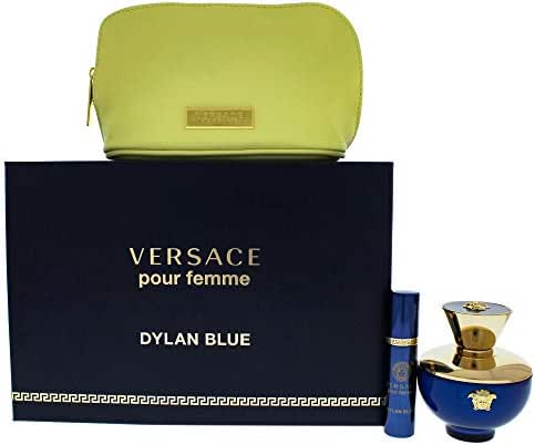 Versace Dylan Blue By Versace for Women - 3 Pc Gift Set 3.4oz Edp Spray, 10ml Edp Spray, Pouch, 3count